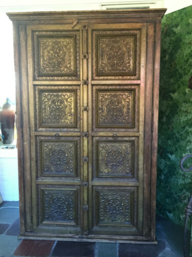 Antique Large Bronze Rustic Teak Amoire Farmhouse Hand-Carved Indian Doors