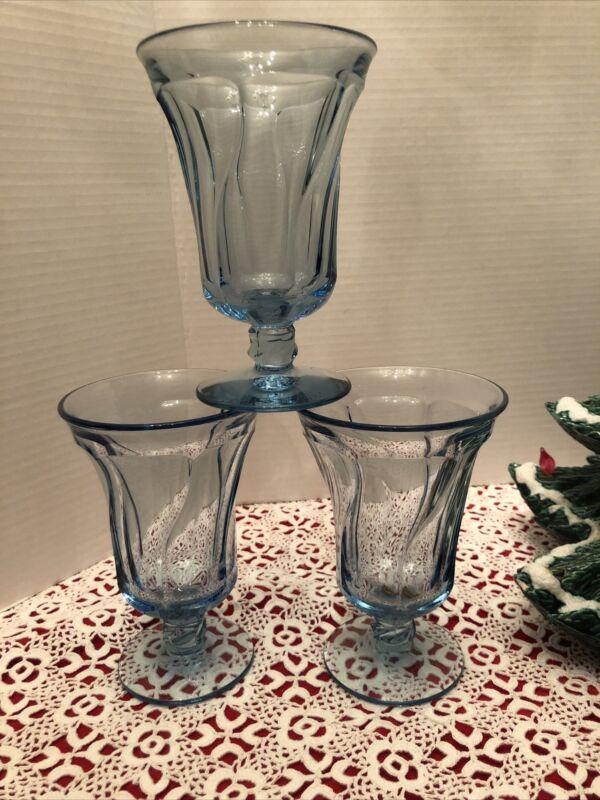 "3 Vintage FOSTORIA JAMESTOWN Light Blue Glass Iced Tea/Water Goblets 6"""