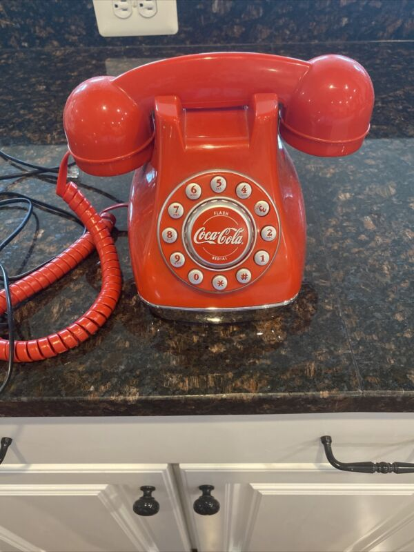 Coca Cola Snow Dome Telephone Push Button Phone Vintage Collectable