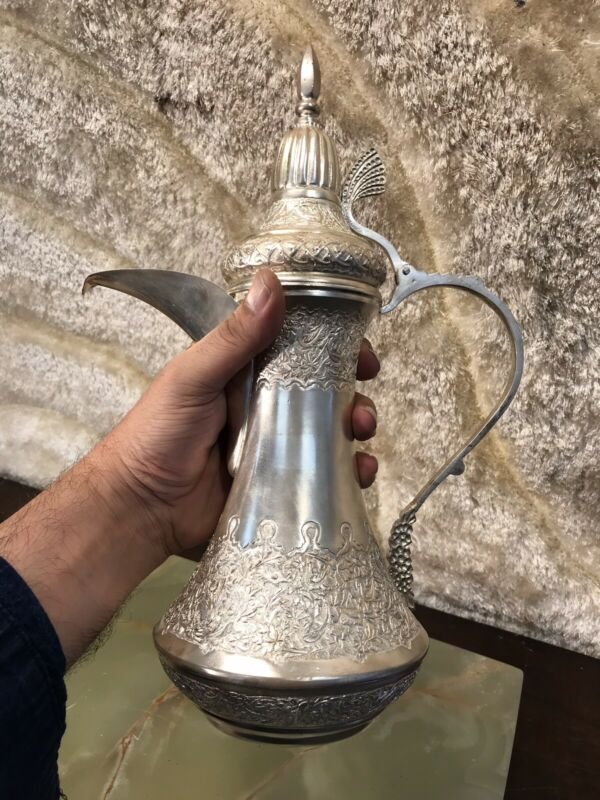 RARE SOLID PERSIAN 84 SILVER ISLAMIC DALLAH COFFEE POT MIDDLE EASTERN 955.8g