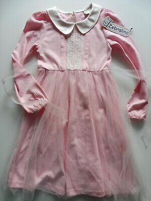 ZEBRALINO KLEID 110,4 5 A,PRINZESSIN KARNEVAL Kostüm,rosa weiß,Tüll-Chiffon Rock ()