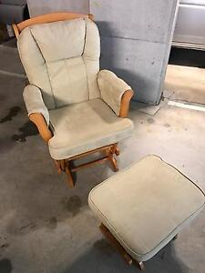 Glider Chair  and foot stall -light wood and light coloured cloth Little Bay Eastern Suburbs Preview