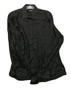 "Mens Burton Black Poly/ Cotton Shirt Size 17"""