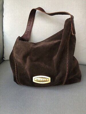 Nicoli Made In Italy Brown Suede Slouch Purse Handbag