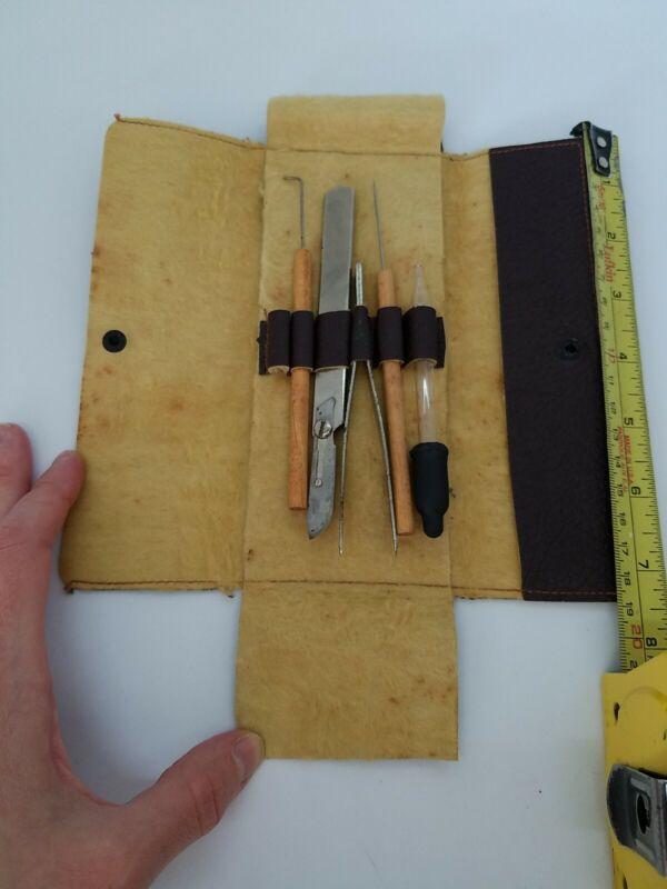 Vintage Doctors Leather Medical Kit w/ Instruments Kit & Tools Estate Find Nice