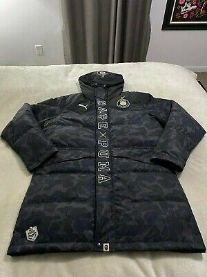 A Bathing Ape BAPE FC x Puma Down Long Coat sz XL Black Camo puffer parka jacket