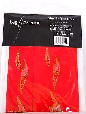 Glow In The Dark Red With Flames Nylon Tights Leg Avenue Costumes Halloween  (Glow Dark Halloween Costumes)