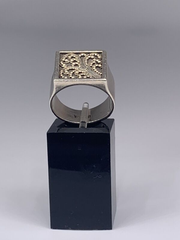 Lois Hill Sterling Silver Ring Wide Band Square Signed sz 7