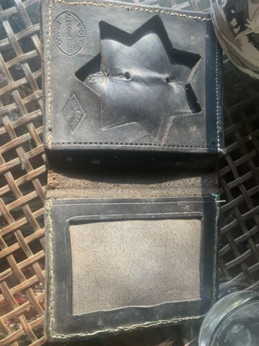 george geo. f cake co. badge wallet sheriff fire department seven point police