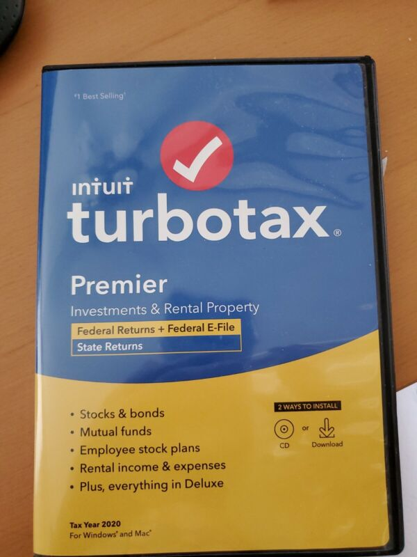 USED 2020 TurboTax Premier with 3 Federal Filing Investments and Rental Property