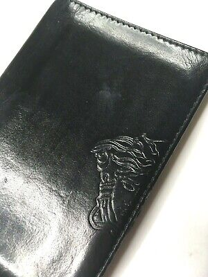 GIANNI VERSACE VINTAGE '90s MEDUSA EMBOSSED LEATHER CARD WALLET MEN BIFOLD ITALY