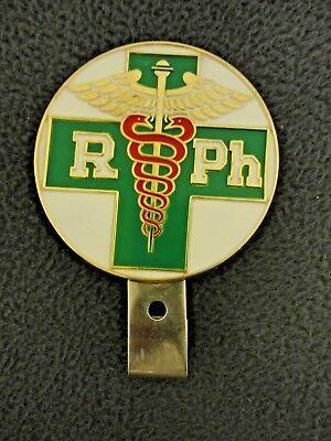 Vintage Merrell RPH LICENSE PLATE TOPPER Registered Pharmacist Enamel Badge