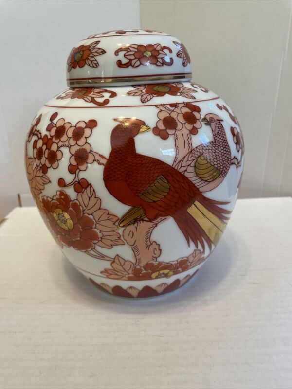 """Gold Imari Hand Painted 8 1/2"""" Red & Gold Urn With Lid"""