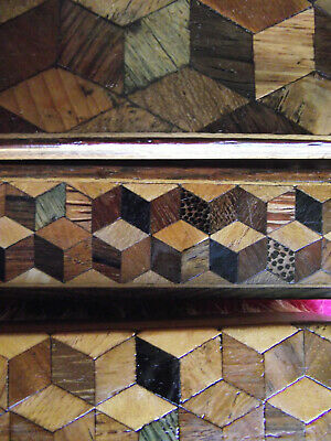 Three tunbridge ware brushes with tumbling block pattern