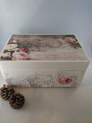 large wooden keepsake box   Memory Box   decoupage box   Shabby Chic   handmade
