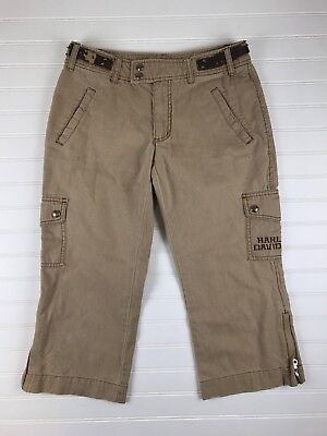 *Harley Davidson Womens Tan Capri Cropped Pants Size 6 Leather straps
