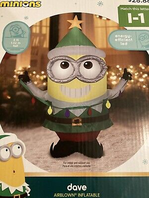 Minion Dave Airblown Christmas Inflatable Gemmy 5 Ft