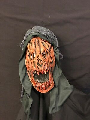 Scary Half Pumpkin Face Mask with Hood. Halloween. Adult. Latex