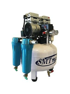 New 1 Hp 8 Gallon Oil Free Noiseless Dental Air Compressor With 2-stage Dryer