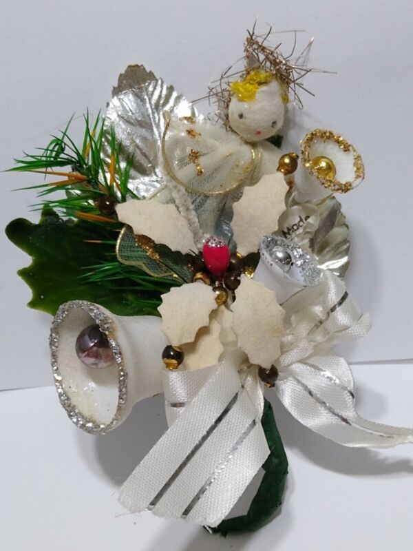 Vintage Christmas Corsage ANGEL Mercury Glass Beads Bells Silver package tie