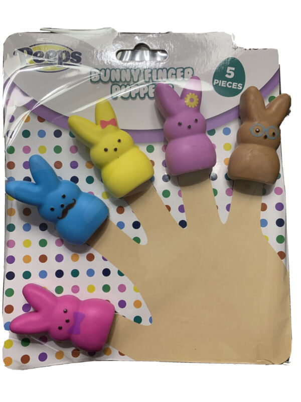 New Peeps Bunny Finger Puppets Rubber Set Of 5 Easter Basket Toy
