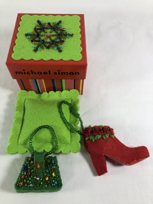 MICHAEL SIMON CHRISTMAS ORNAMENTS Fancy Purse (Green) & Boot (Red)w/box