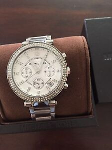 authentic silver parker with glitz michael kors watch