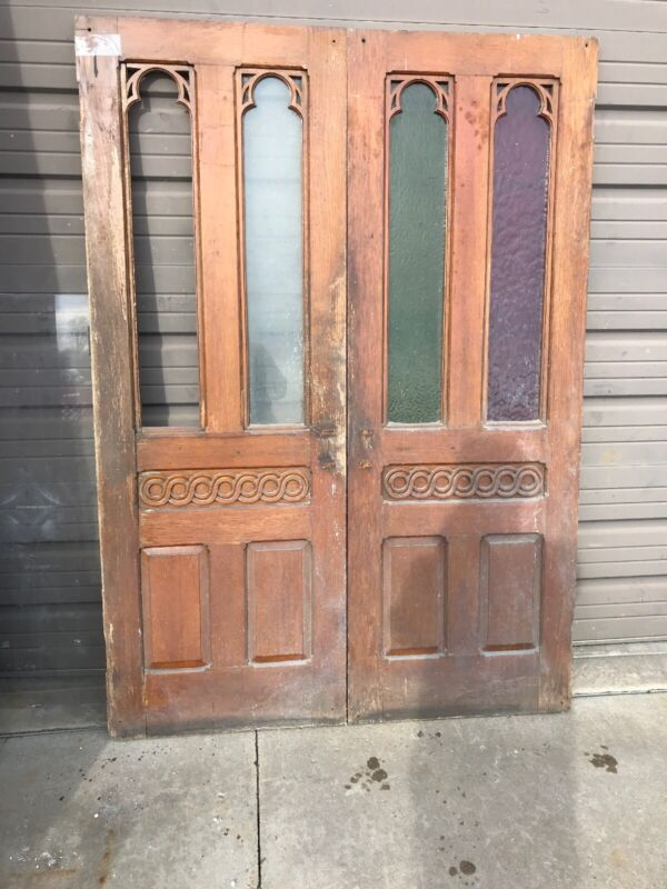 An Pair Antique Oak Gothic Double door 52 x 73.5 x 1.25