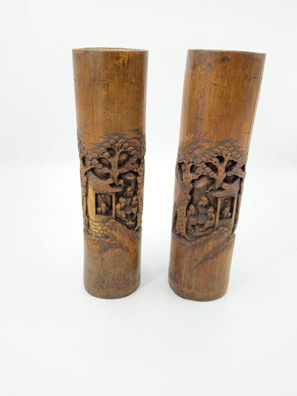 "Set Of Two 14.5"" Tall Antique Chinese Carved Bamboo Brush Pot, Vase"