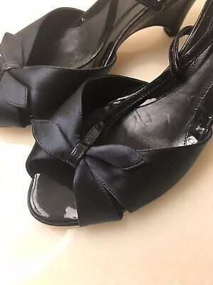 New Fendi Zeppa Wedges Navy Satin Black Patent Sandals Shoes 37 US 7 Italy $600