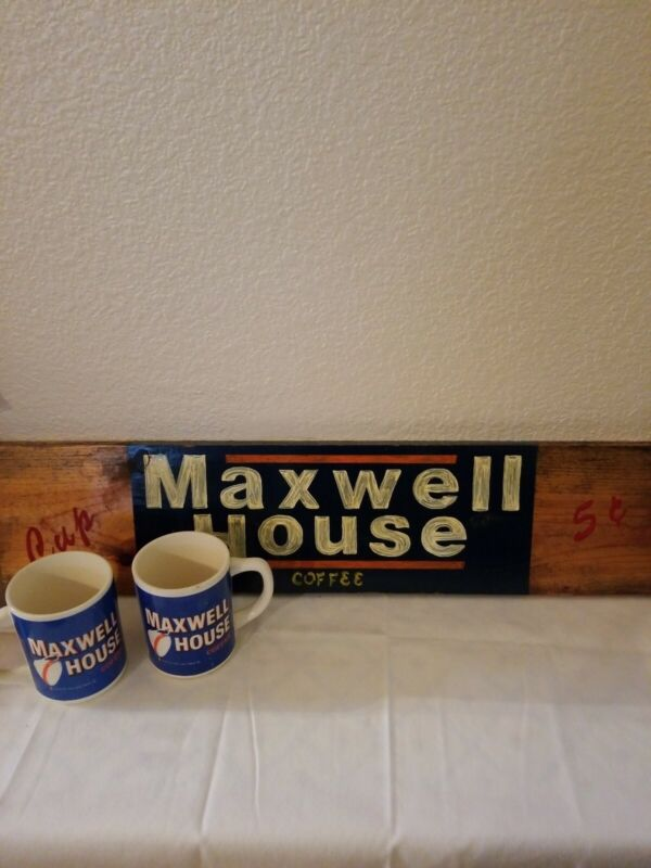 Vintage Maxwell House Coffee Hand Painted Wooden Sign With 2 Mugs/Cups