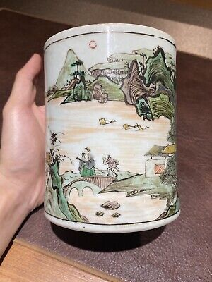 Kangxi Chinese Antique Porcelain Famille Vert Brushpot With Calligraphy 18th C.