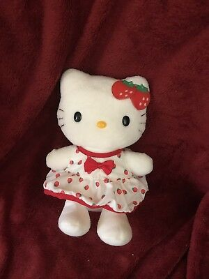 "Hello Kitty  Strawberries 8"" Plush    No Paper Hang Tags Preowned Elkoh"
