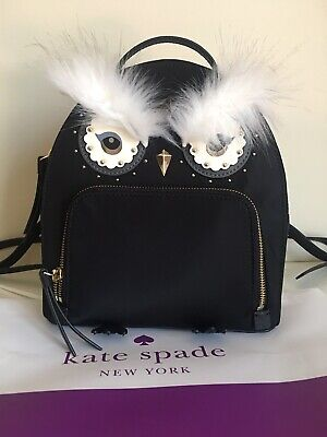 Kate Spade 💯%Authentic NYLON OWL TOMI STAR BRIGHT BACKPACK BAG IN BLACK