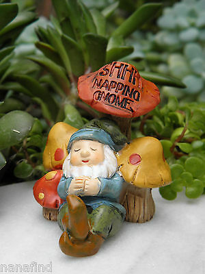 Miniature Dollhouse FAIRY GARDEN Accessories ~ Napping Woodland Gnome ~ NEW