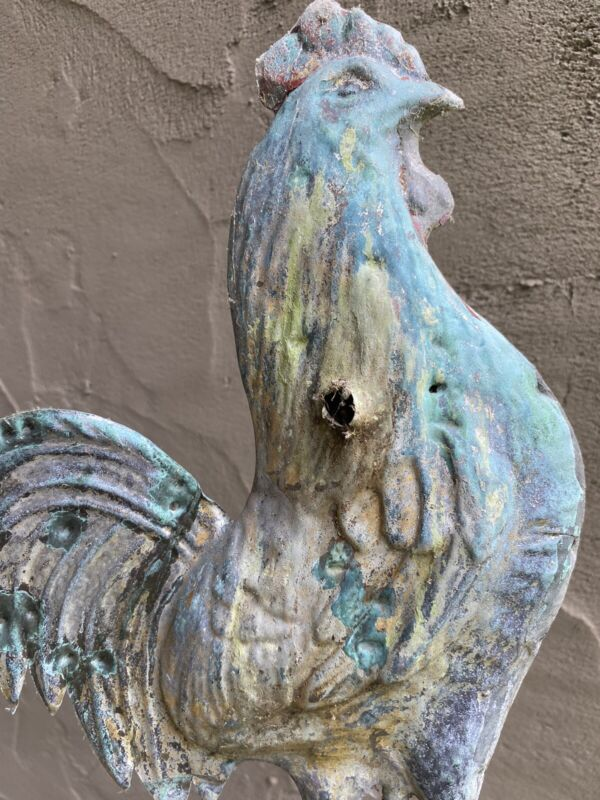 C. 1880 Folk Art Rooster on Arrow Weathervane. Untouched Natural Surface.