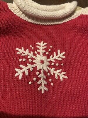 Hanna Andersson Baby Girl Sz 60 or 3-6 Mo Red Christmas Snowflake Sweater