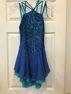 Ice Skating Dress   AS  Royal withTurqoise underneath skirt w/sequins   LOWER $