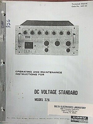 Cohu Dc Voltage Standard Model 326 Operating And Maintenance Instructions 15x-62