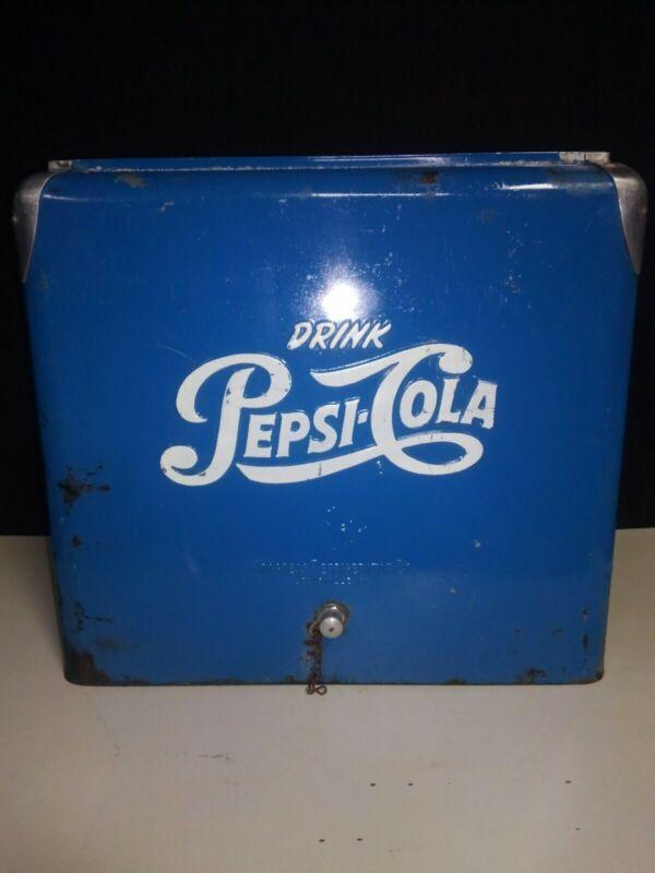Vintage PEPSI COLA Blue Picnic Cooler Ice Chest Complete Retro Progress Refrig