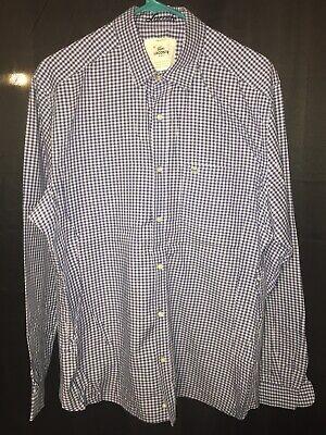 Lacoste Regular Fit Men's Long Sleeve Shirt Size 42 L Blue White Check Gingham