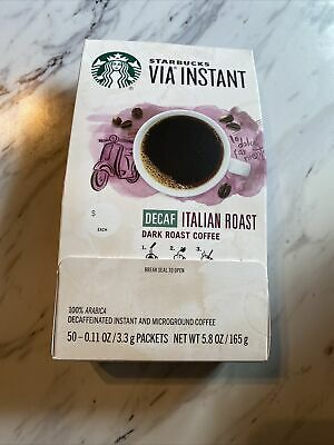 Starbucks VIA Instant Decaf Italian Roast Coffee - 50 Count - BBD 10/20