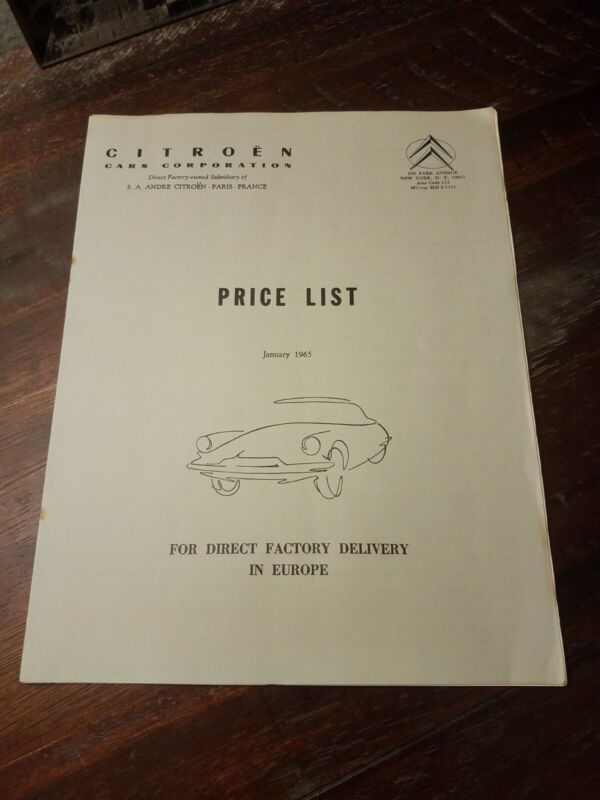 1965 NY Price List Factory Delivery Citroen DS ID 19 AMI-6 2CV Catalog Brochure