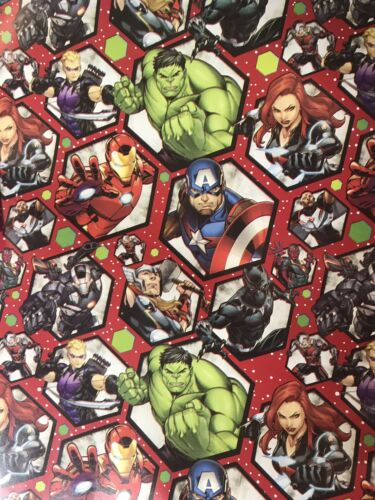 Marvel Avengers Action Poses RED Christmas Gift Wrapping Pap