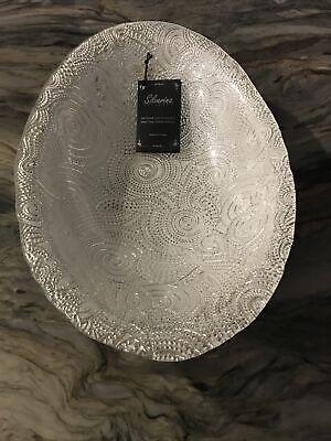 """Oval  Silverina Handmade 14.5"""" Glass Bowl 99% Silver NWT"""