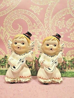Vtg Set of 2 Musical Cherubic Christmas Angels Children W Black Pixie Hats  - Musical Elf Hat