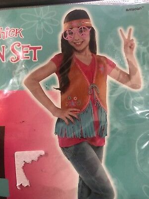 Hippie costume girls 8-10;Vest;Headband;glasses;beads;60s-70s Disco fashion set