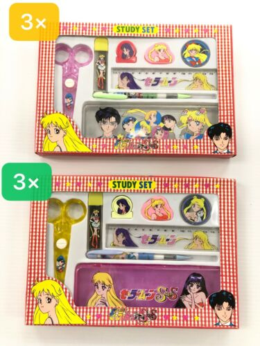 Wholesale Lot of 6 Sailor Moon Study Set -  3 Pink + 3 Clear