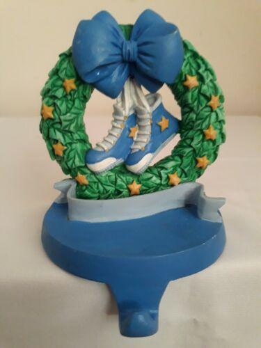 Ceramic Blue Shoes Mantle Wreath Hanger Stocking Holder Christmas Hook Decor