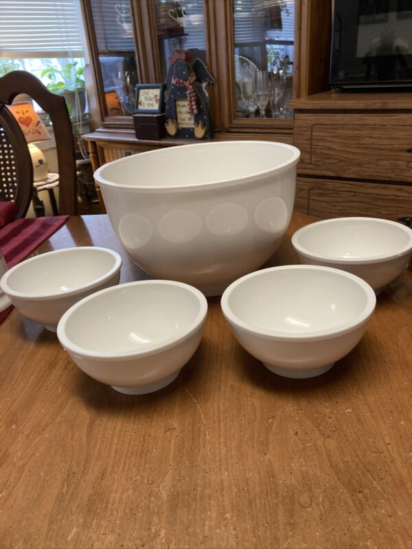 5 Pc Set Vintage DANSK Designs Gunnar Cyrens ? Plastic melmac White Salad Bowl